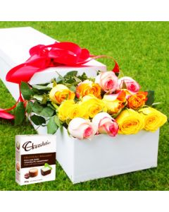 12 Mixed Roses and Chocolates Valentines