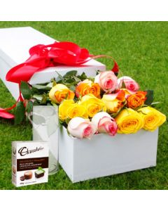 12 Mixed Roses,Chocolates with Vase