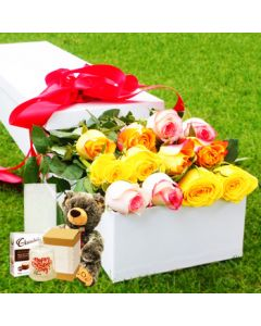 12 Mixed Roses,Chocolates and Teddy, Candle, Vase
