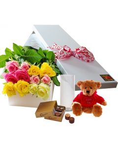 12 Mixed Roses,Chocolates and Teddy with Vase