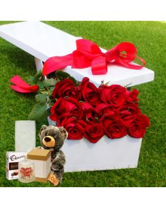 12 Red Roses, Chocolate, Vase, Teddy, Candle