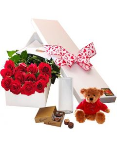 12 Red Roses,Chocolates, Vase and Teddy