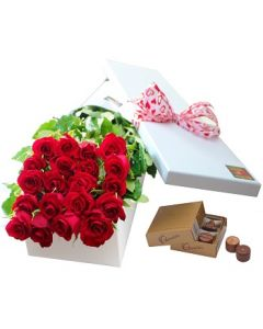 20 Boxed Roses and Chocolates