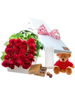 20 Red Roses,Chocolates and Teddy with Vase