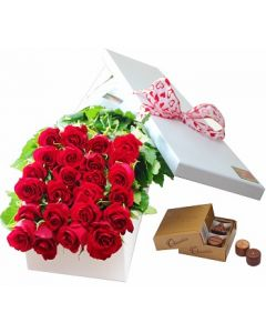 24 Boxed Roses and Chocolates