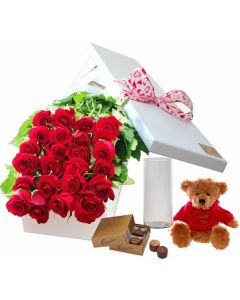 24 Red Roses,Chocolates and Teddy with Vase