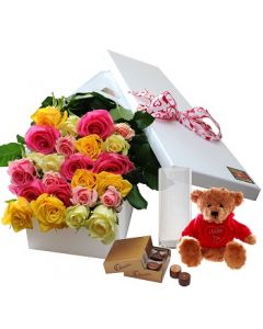 24 Mixed Roses,Chocolates and Teddy with Vase