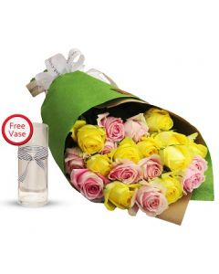 2 Dozen Yellow and Pink Roses Bouquet