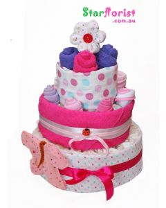 3 Tier Girl Nappy Cake
