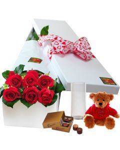 6 Red Roses,Chocolates and Teddy with Vase