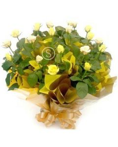 Yellow and Cream Rose Bouquet