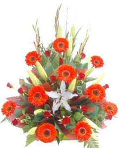 Red Roses and Gerberas with White Orientals
