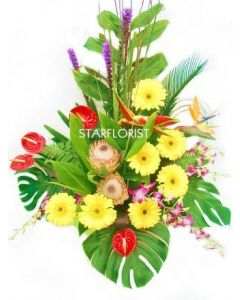 Modern Tropical Flower Arrangement