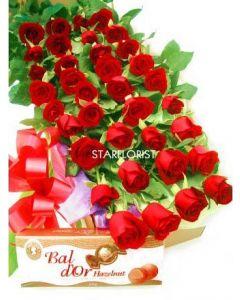 40 Premium Long Stem Roses and Chocolates