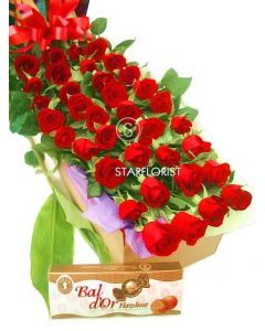 60 Long Stem Roses and Chocolates