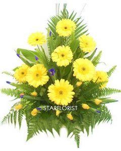 Yellow and Blue flower arrangement