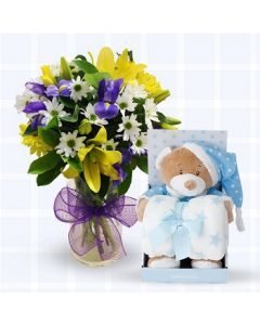 Baby Boy Flowers, Teddy & Blanket Gift Set