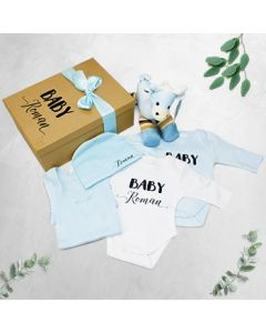 Personalised Baby Boy Giraffe Gift Set