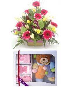 Baby Flowers and Yellow Bear Gift Set