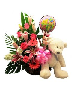 Baby Girl Flower, Bear and Balloon Basket
