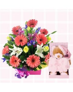 Baby Girl Flowers, Teddy & Blanket Gift Set
