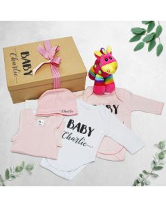 Personalised Baby Girl Giraffe Gift Set