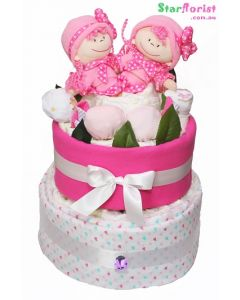 Baby girl twin nappy cake