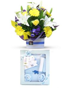 Flower and Large Gift Set for a baby boy