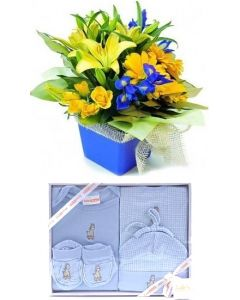 Baby Blue Flowers and clothes Gift Set