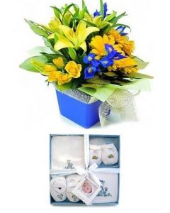 Baby Boy Flowers and Clothes Set