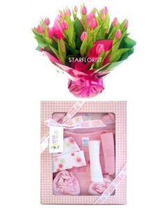 Flowers and Large Gift Set for a baby girl