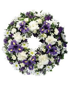 Sympathy Wreath White and Blue