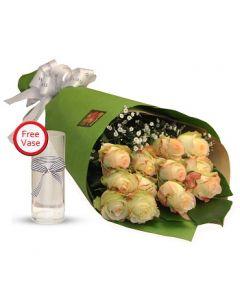 A Dozen Champagne Roses Bouquet