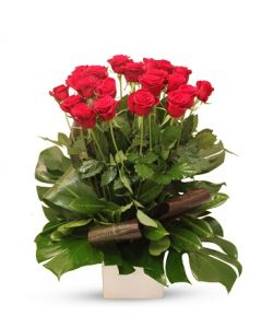 24 Elegant Red Long Roses Arrangement