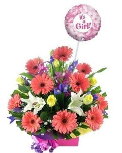 Flower Arrangement and baby girl balloon