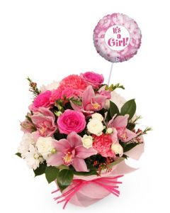Pretty Pink Posy and baby girl Balloon