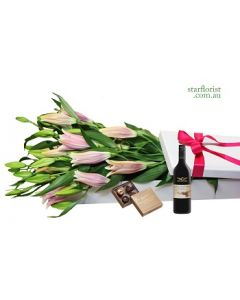 Oriental Lilies and Red Wine Gift Box
