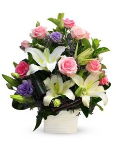 Pink Roses and Oriental Lilies in Pot