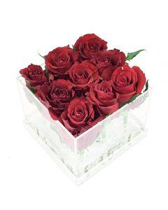 9 Rose in Cube
