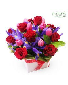 Rose, Tulips and Iris