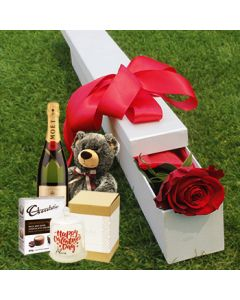 Valentine rose, chocolate and champage