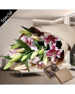 Stargazer Lilies Bouquet and Chocolate