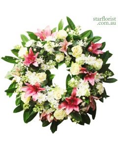 Large white and Pink wreath