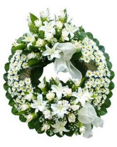 Large White Sympathy Wreath