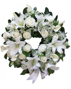 Sympathy Wreath in Whites