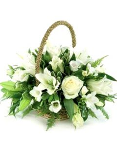 White Assorted Flower Basket