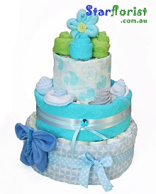 3 Tier Boy Nappy Cake